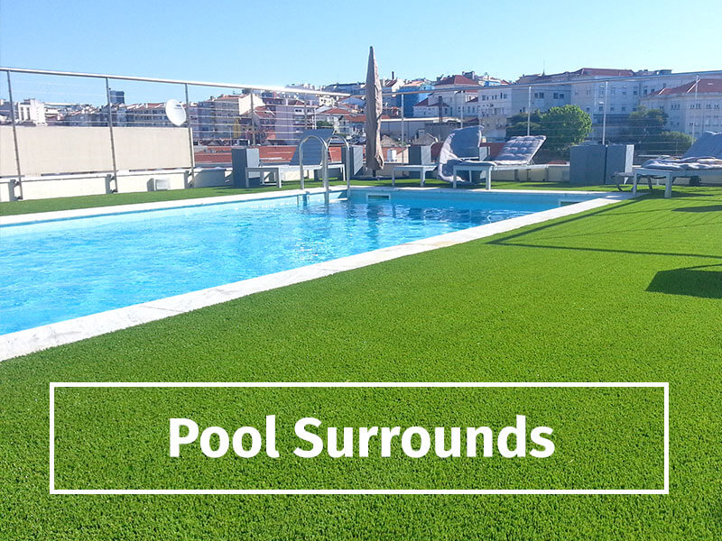swimming pool surround with artificial grass