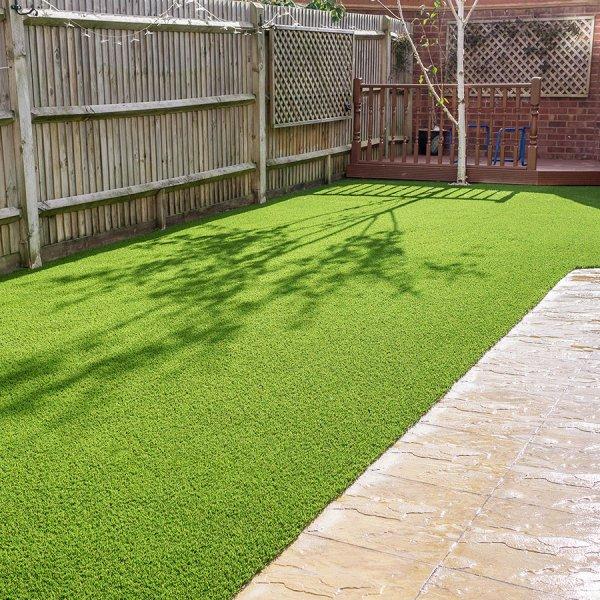 garden path with imitation grass lawn